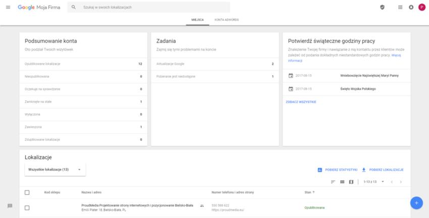 Wizytówka firmy / Google moja firma