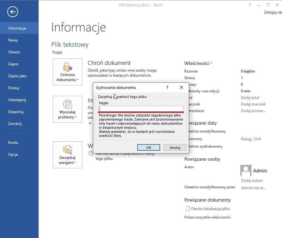 Jak zabezpieczyć plik hasłem