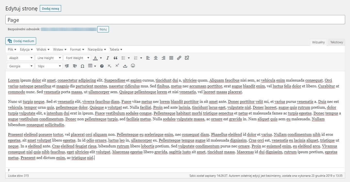 Klasyczny edytor - wtyczka wordpress